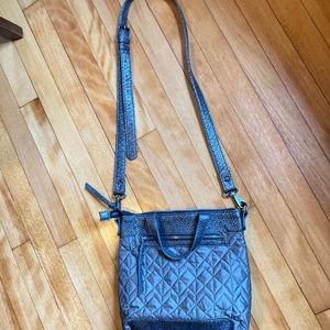 Pistil gun metal gray quilted crossbody purse